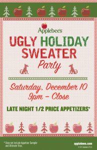 Free Ugly Holiday Sweater Party At Applebee 39 S Kansas