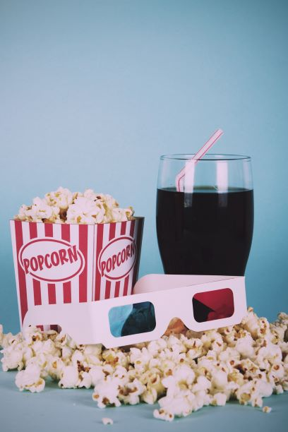 Movie popcorn, soda and 3-d glasses