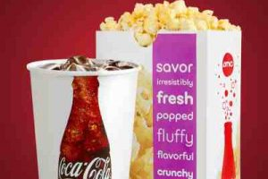 movie discounts in Kansas City - bag of popcorn and a soda