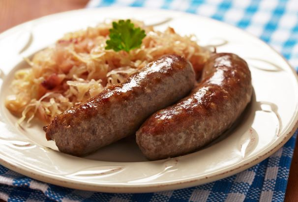 Concordia Fall Festival - grilled german sausages on a plate with sauerkraut