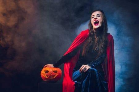 Worlds of Fun Halloween Haunt - woman in vampire costume