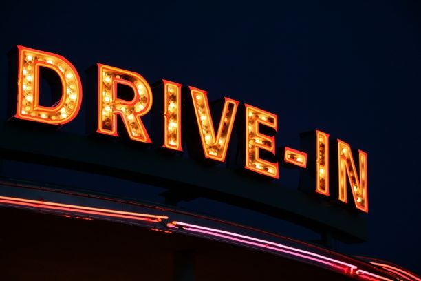 drive in movie sign