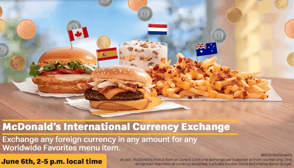 McDonalds foreign currency promotional offer