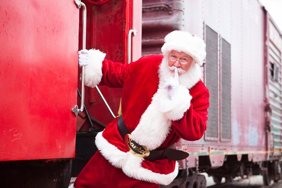 Baldwin, Kansas Polar Express Train Ride - Santa boarding a train