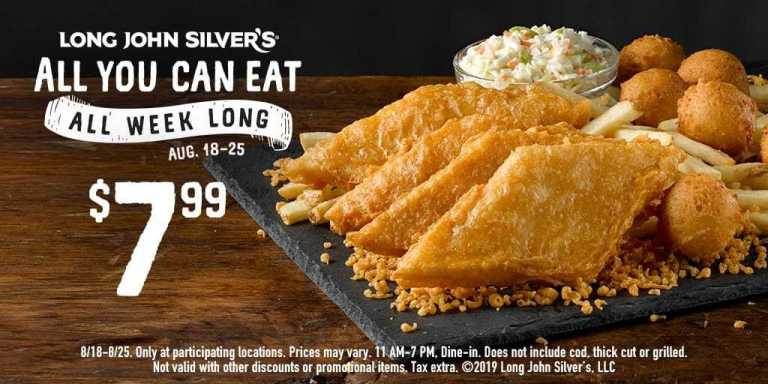 Kansas City food deals - Long John Silver's all-you-can-eat fish or chicken banner