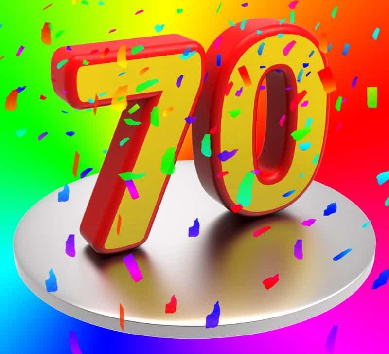 FOX4 70th anniversary - 7 and zero candles with confetti