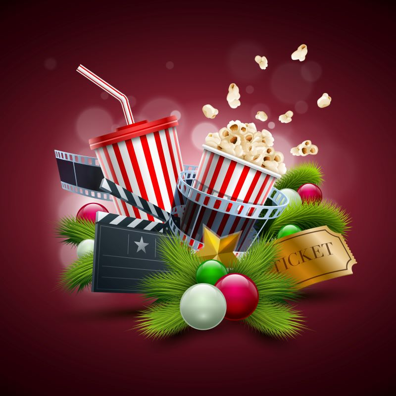 Classic Holiday Movies at Theaters in Kansas City - collage of holiday greenery and movie concessions