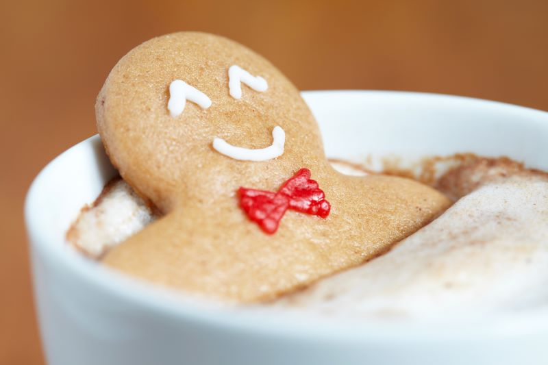 Holiday lighting ceremonies in Kansas City - gingerbread cookie in hot cocoa