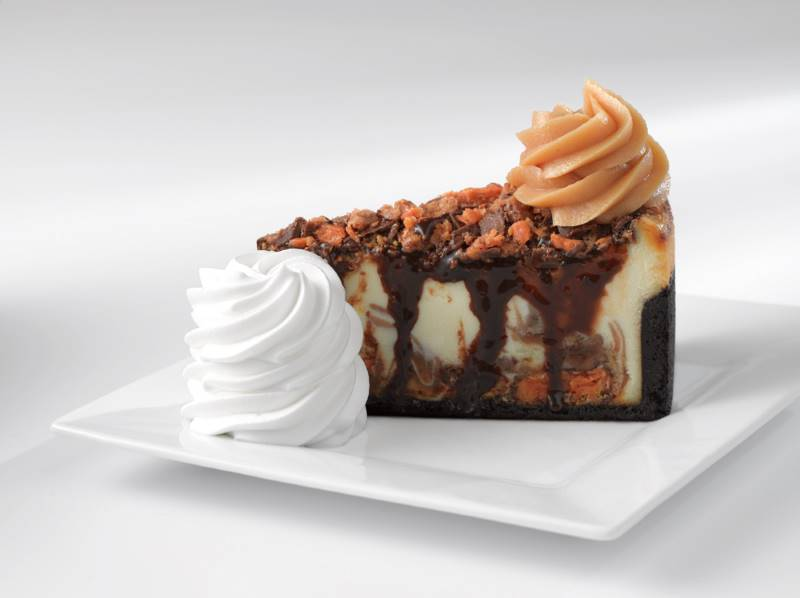 Cheesecake factory gift card bonus - slice of cheesecake on a plate