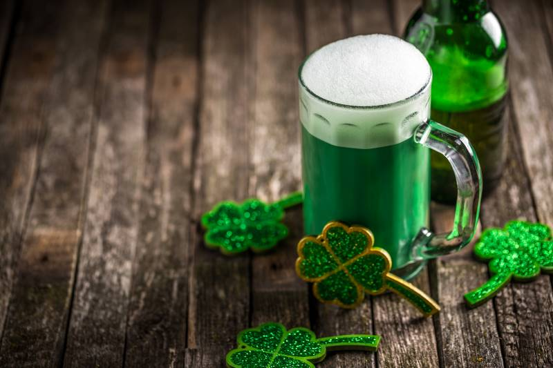 St. Patrick's Day Events in Kansas City - green beer on a table with shamrocks