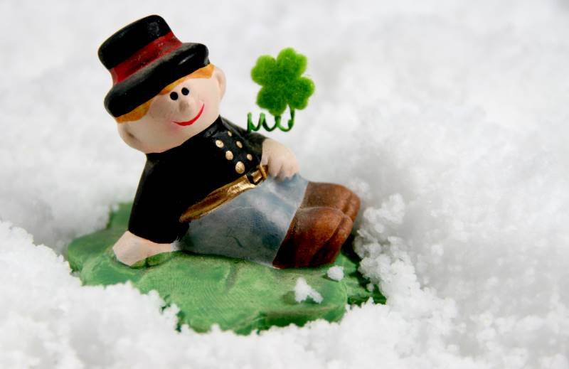 Kansas City St. Patrick's Day events - leprechaun in snow