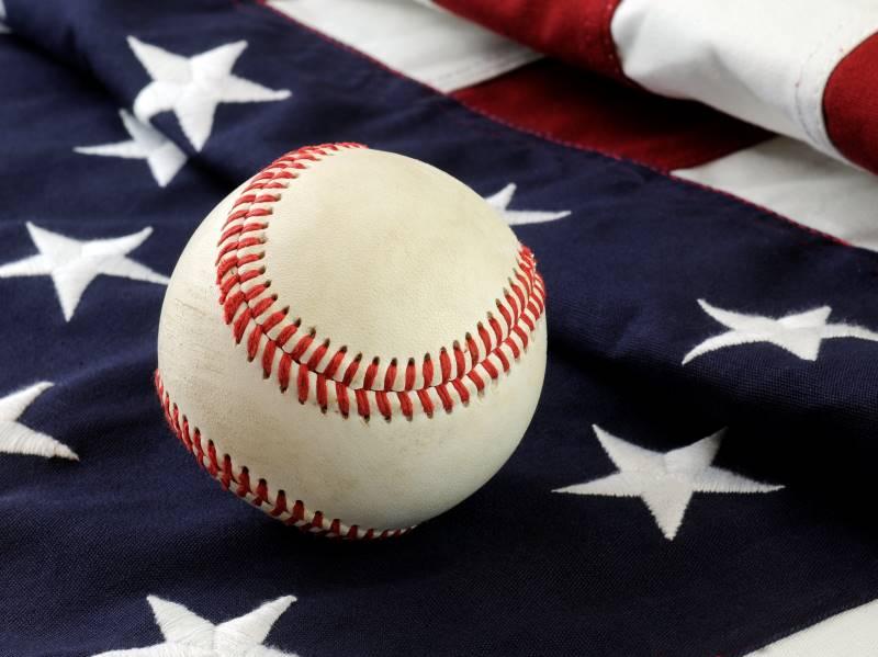 Kansas City Royals ticket discounts - baseball on an American flag