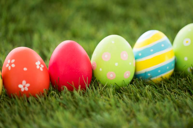 Easter Egg Hunts & Events in Kansas City - decorated eggs on grass