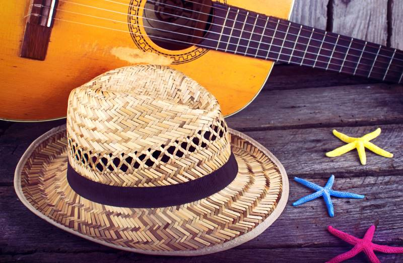 Jimmy Buffett Cabin Fever Virtual Tour - image of straw hat and guitar