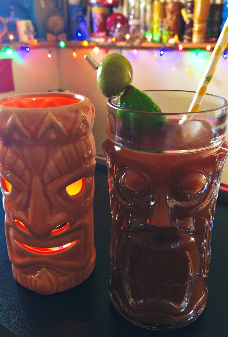 Virtual Happy Hour Tips - two tiki drinks on a bar