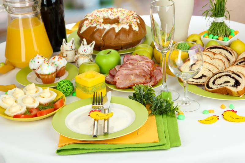 Easter dinner specials in Kansas City - table of ham and desserts with a bunny
