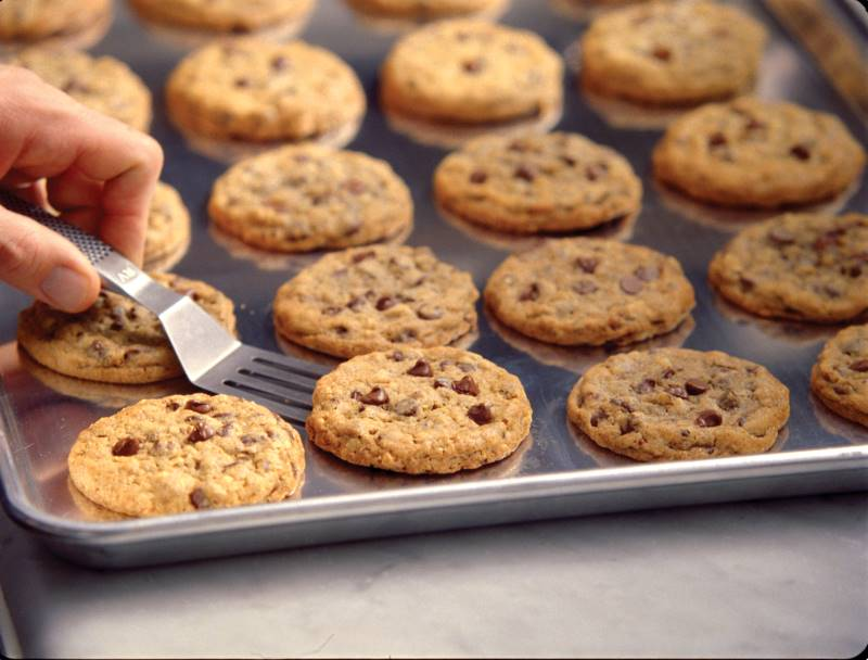 DoubleTree chocolate chip cookies on a cookie sheet