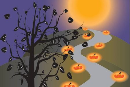 Halloween tree and pumpkins